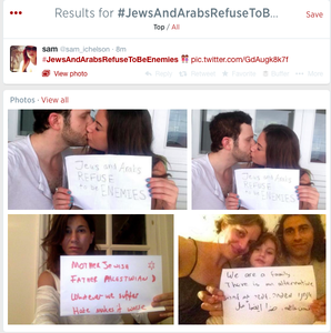 The hashtag #JewsAndArabsRefuseToBeEnemies is now circulating on Twitter, with users sharing pictures of interfaith couples and people of both religions joining together in a message of hope. Credit: YouTube screenshot.