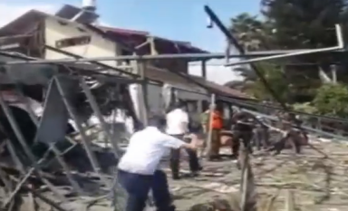 A home in the Tel Aviv suburb of Yehud that was hit by remnants of a rocket on Tuesday. Credit: Israel Hayom video screenshot.