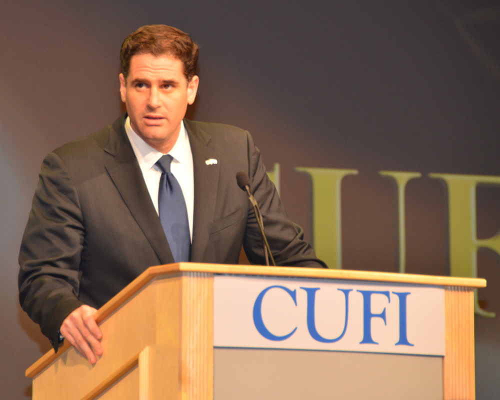 Click photo to download. Caption: Israeli Ambassador to the U.S. Ron Dermer addresses the 2014 Christians United for Israel (CUFI) summit. Credit: Maxine Dovere.