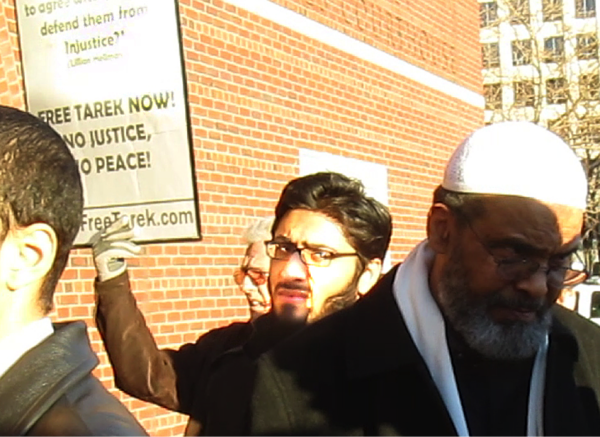 Bilal Mirza (center), who has worked for the Anti-Defamation League's interfaith camp in New Hampshire, seen at a rally outside Moakley Courthouse in Massachusetts during convicted Al-Qaeda terrorist Tarek Mehanna's bail hearing. Credit: Americans for Peace and Tolerance.