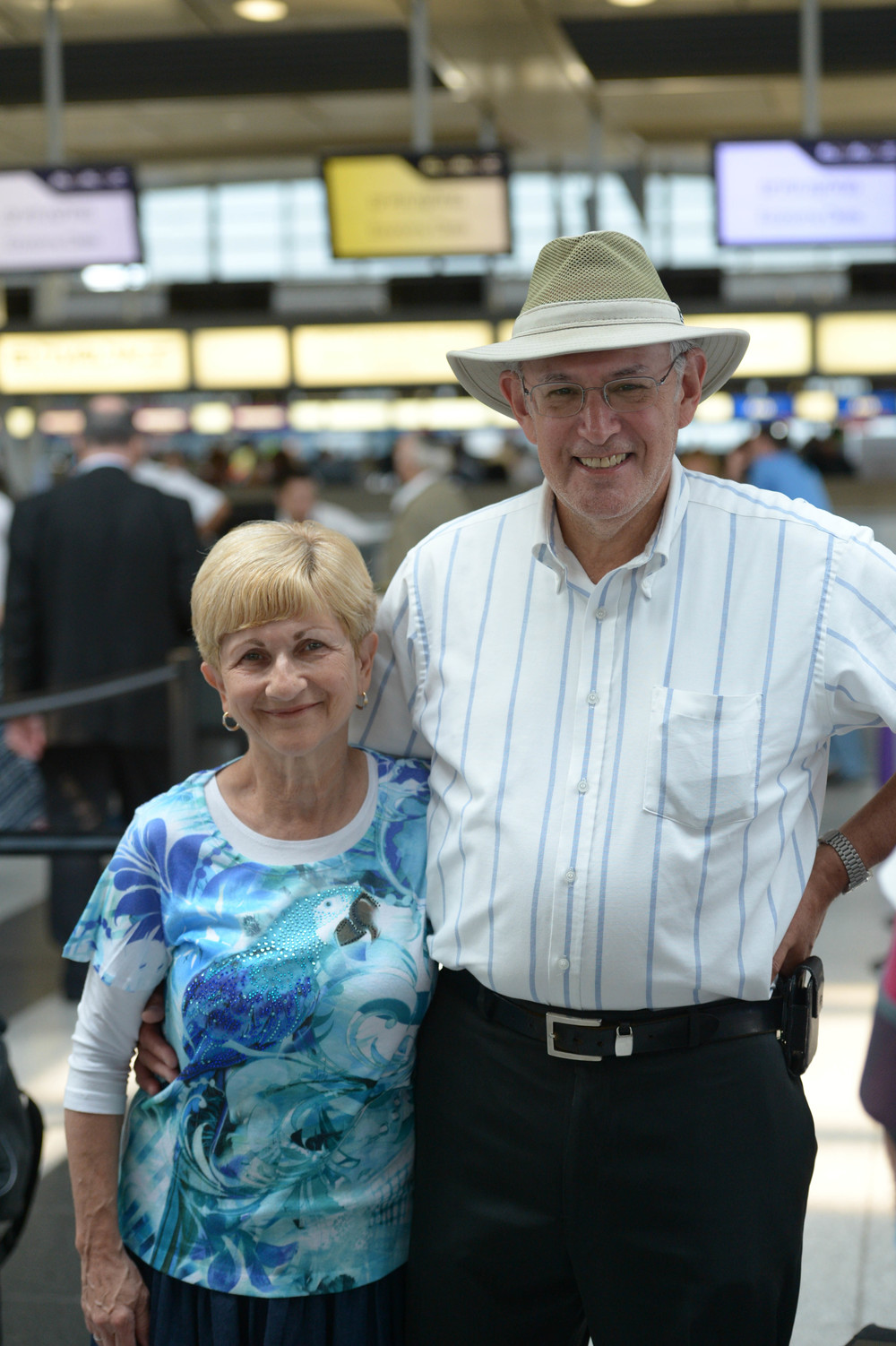 Click photo to download. Caption: Barbara and Kalman Feinberg of Teaneck, N.J., at New York's John F. Kennedy International Airport before making aliyah. They arrived in Israel on July 22. Credit: Shahar Azran.