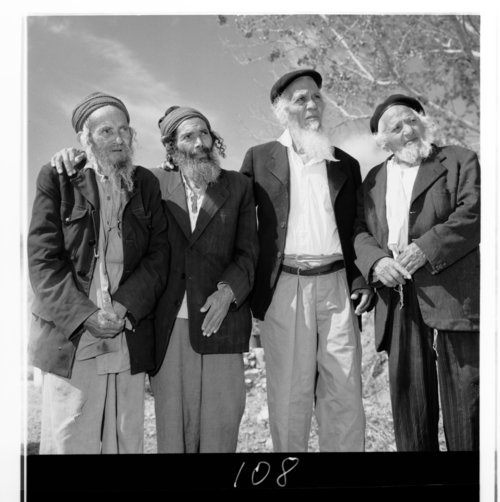 Click photo to download. Caption: Pictured in 1963, a group of Yemenite men who were residents of a village for the aged maintained through the American Jewish Joint Distribution Committee's (JDC) Malben program in Israel. The photo is among the items featured in JDC's exhibit at the New York Historical Society. Credit: JDC.