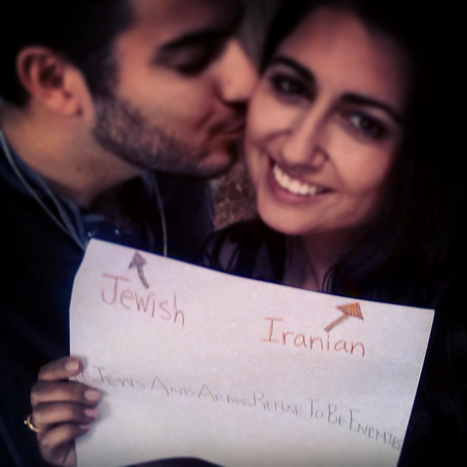 Click photo to download. Caption: Dr. Sahar Eftekhar, an Iranian Muslim, and Zachary Wettenstein, her Jewish boyfriend. Credit: Provided photo.