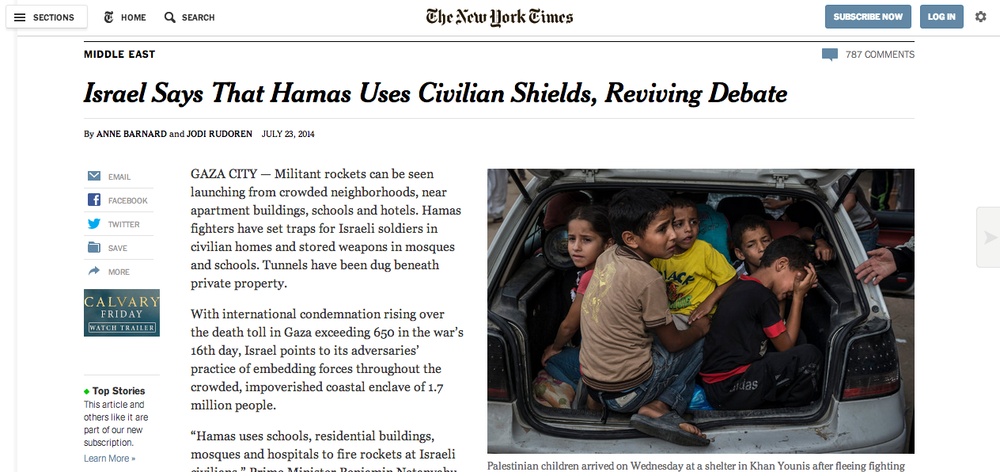 "Click photo to download. Caption: The webpage of a July 23 New York Times article that columnist Debra Feuer calls an ""erroneous and shameful defense of Hamas,"" regarding the Palestinian terror group's use of human shields. Credit: Screenshot of New York Times website."