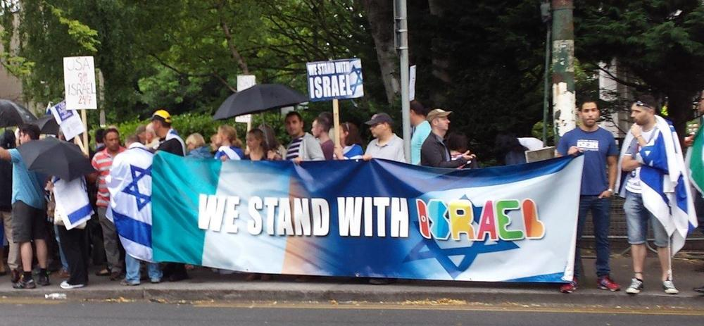 A pro-Israel rally outside the Israeli Embassy in Ireland last Sunday. Credit: Irish Christian Friends of Israel.