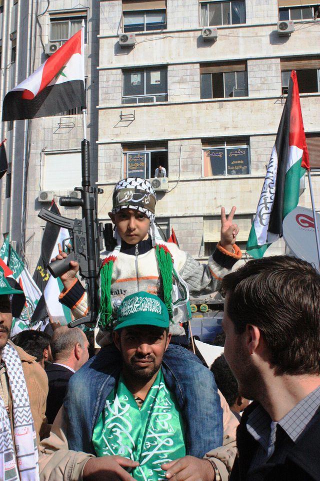 A pro-Hamas rally in Damascus. Credit: Tasjavia Wikimedia Commons.