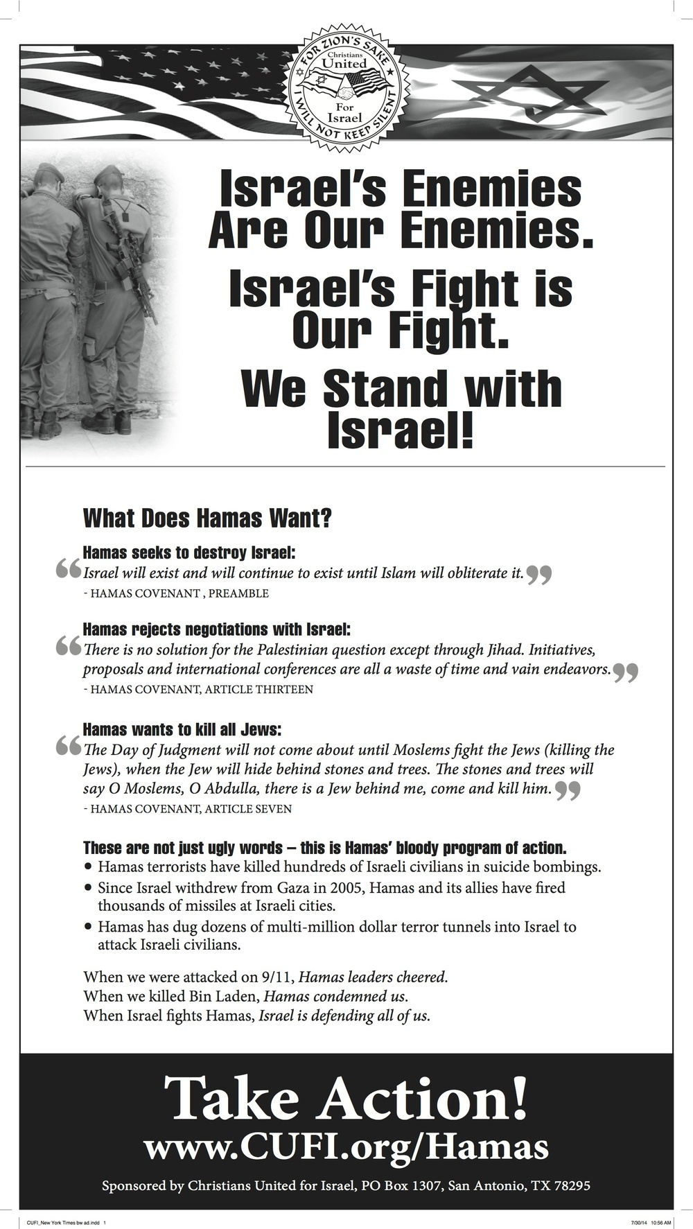 The new Christians United for Israel (CUFI) ad on Hamas. Credit: CUFI.