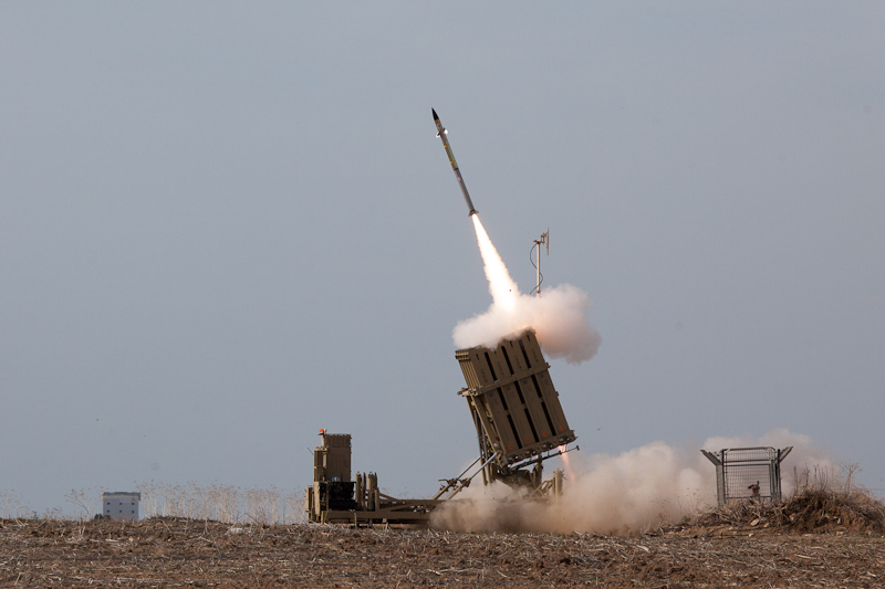 Click photo to download. Caption: Israel's Iron Dome system launches a missile to intercept a rocket coming from the Gaza Strip. Credit: Israel Defense Forces.