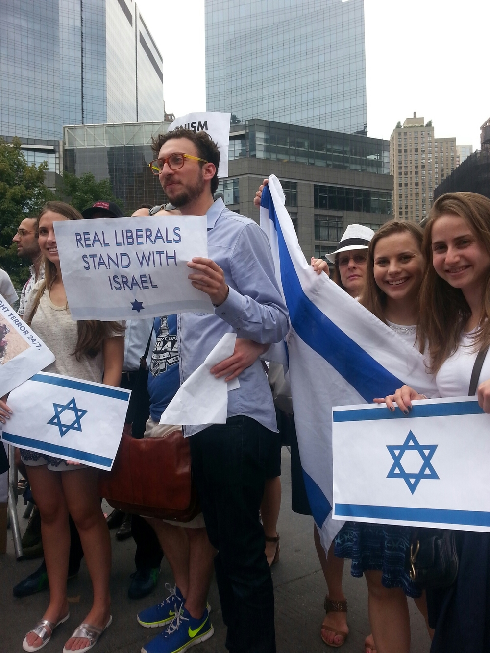 Click photo to download. Caption: A recent pro-Israel demonstration in Manhattan's Columbus Circle which went up against an adjacent anti-Israel demonstration. Credit: Ben Cohen.