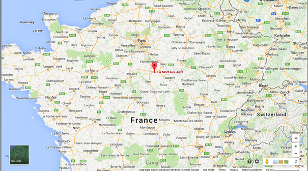 "The French town marked on this map named ""La Mort aux Juifs"" translates to ""Death to Jews."" Credit: Google Maps screenshot."