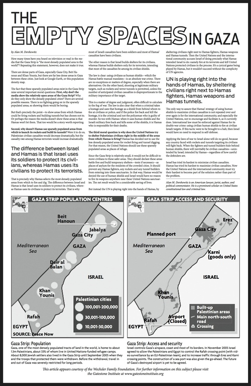 Click photo to download. Caption: The advertorial on Hamas written by Alan Dershowitz that was rejected by The Guardian. Credit: Provided photo.