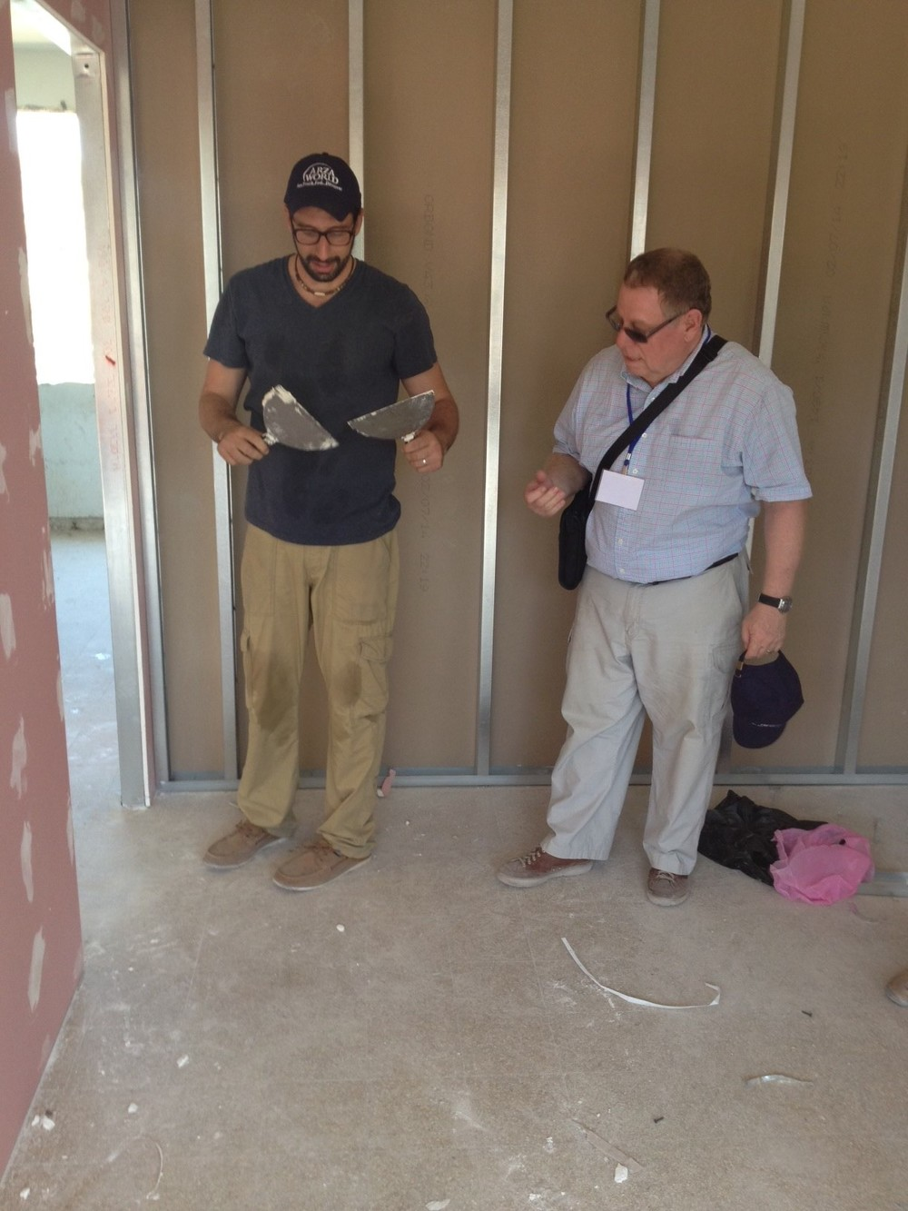 Click photo to download. Caption: Rabbis from ARZA, the Zionist wing of the Reform movement, help build the Ayalim student village in Sderot. Credit: Provided photo.