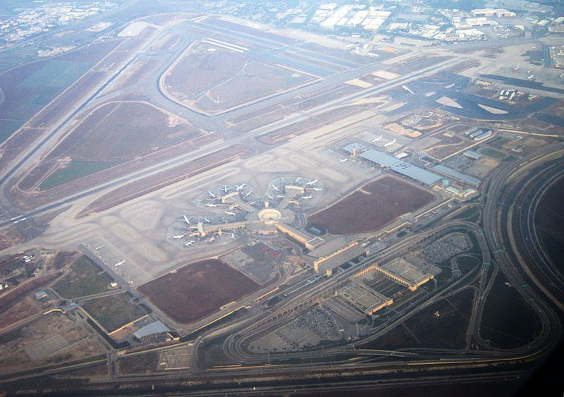 An aerial view of Ben Gurion Airport. Credit: Wikimedia Commons.