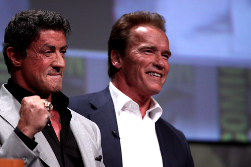 Sylvester Stallone and Arnold Schwarzenegger. Credit: Gage Skidmore via Wikimedia Commons.