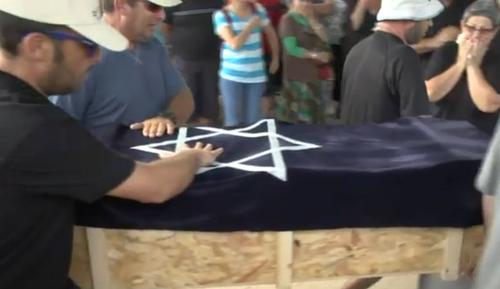 Four-year-old Israeli boy Daniel Tregerman's funeral on Sunday. Credit: Israel Hayom video screenshot.
