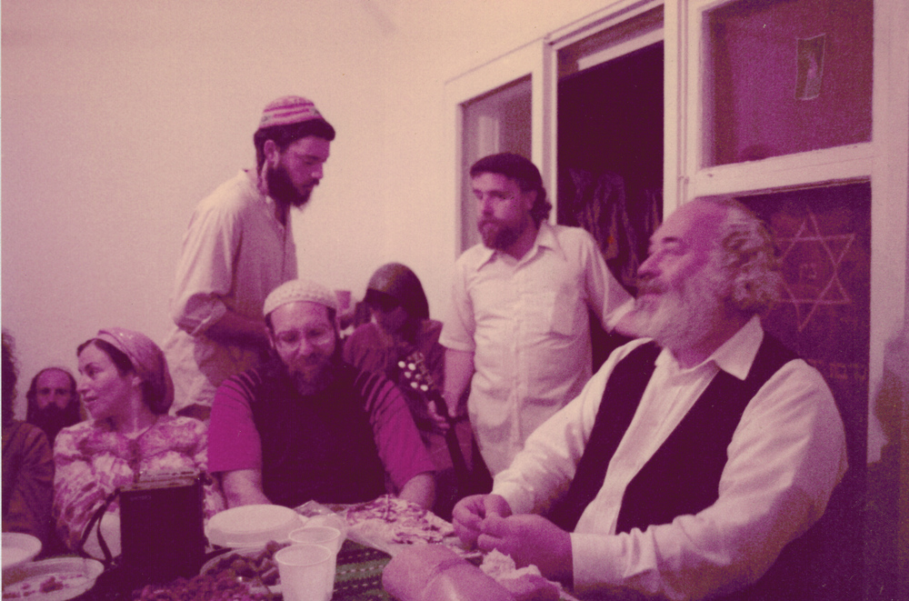 Click photo to download. Caption: In June 1984, Sheva Brachot in Jerusalem for Nechama and Shmuel Silver together with Rabbi Shlomo Carlebach (far right). Credit: Provided photo.