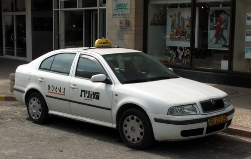 An Israeli taxi. Credit: Wikimedia Commons.