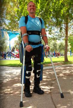A patient uses the ReWalk Robotics exoskeleton system. Credit: ReWalk Robotics.