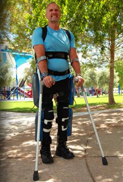 A patient uses theReWalk Roboticsexoskeleton system. Credit:ReWalk Robotics.
