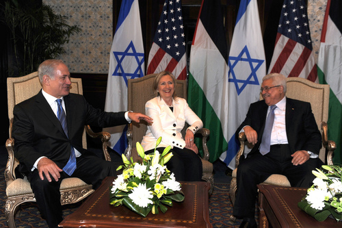 Benjamin Netanyahu, Hillary Clinton, and Mahmoud Abbas meet in September 2010. Credit: State Department.