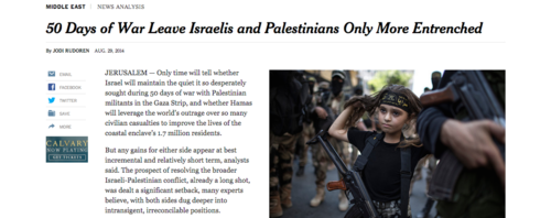 """Click photo to download. Caption: Athird grader in Gaza is pictured on the New York Timeswebsite Aug. 29 (for an article that appeared in the newspaper's Aug. 30 print edition) wearing a headband with """"jihad"""" slogans and military-style camouflage pants, while carrying a Kalashnikov rifle and marching alongside adult members of the Islamic Jihad terrorist group. Credit: Screenshot of nytimes.com."""