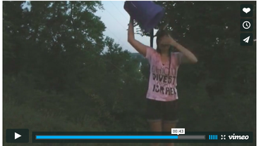 A screenshot of the anti-Israel ALS Ice Bucket Challenge video posted by Ohio University student body president Megan Marzec, who doused herself with blood. Credit: Screenshot.