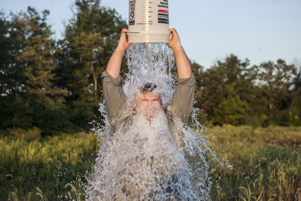 Click photo to download. Caption: Anthony Quintano from Hillsborough, NJ, performs the ALS Ice Bucket Challenge. Credit: Kim Quintano via Wikimedia Commons.