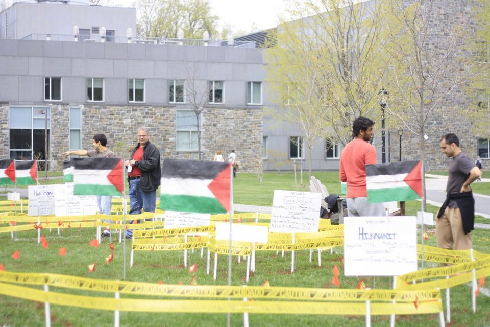Click photo to download. Caption: A display erected by the Swarthmore College chapter of Students for Peace and Justice in Palestine (SPJP). Credit: Swarthmore SPJP Facebook page.