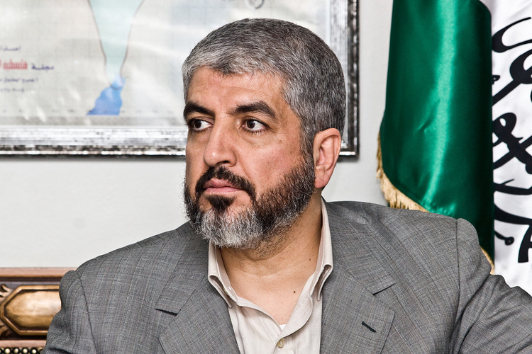 "Click photo to download. Caption: Hamas leader Khaled Mashaal (pictured)—safely ensconced  in Doha, Qatar,  far from the battlefield—said the Palestinian terrorist group ""dazzled the world with her victory"" in its recent war with Israel. Credit: Trango via Wikimedia Commons."