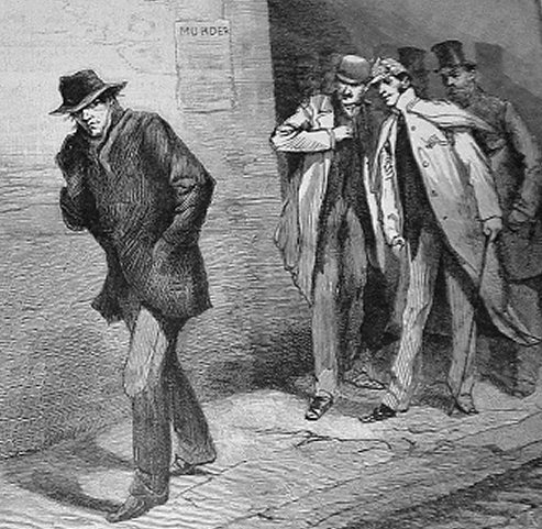 An illustration of Jack the Ripper (left) that appeared in the London News in October 1888. Credit: London News via Wikimedia Commons.