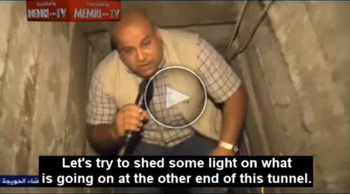 An Al-Jazeera reporter explores the new terror tunnels that the Islamic Jihad group is digging. Credit: Screenshot of MEMRI video.
