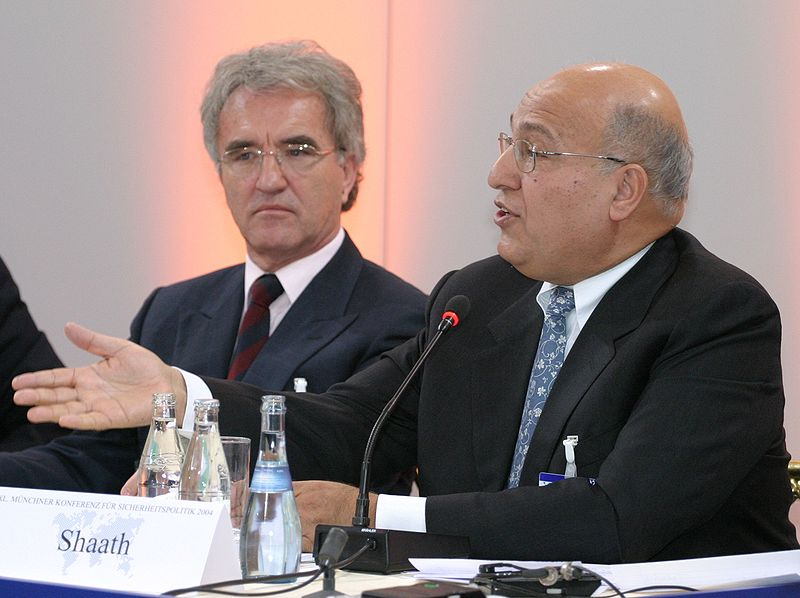 At right, Nabil Shaath, senior adviser to Palestinian Authority President Mahmoud Abbas. Credit: Kai Mörk via Wikimedia Commons.