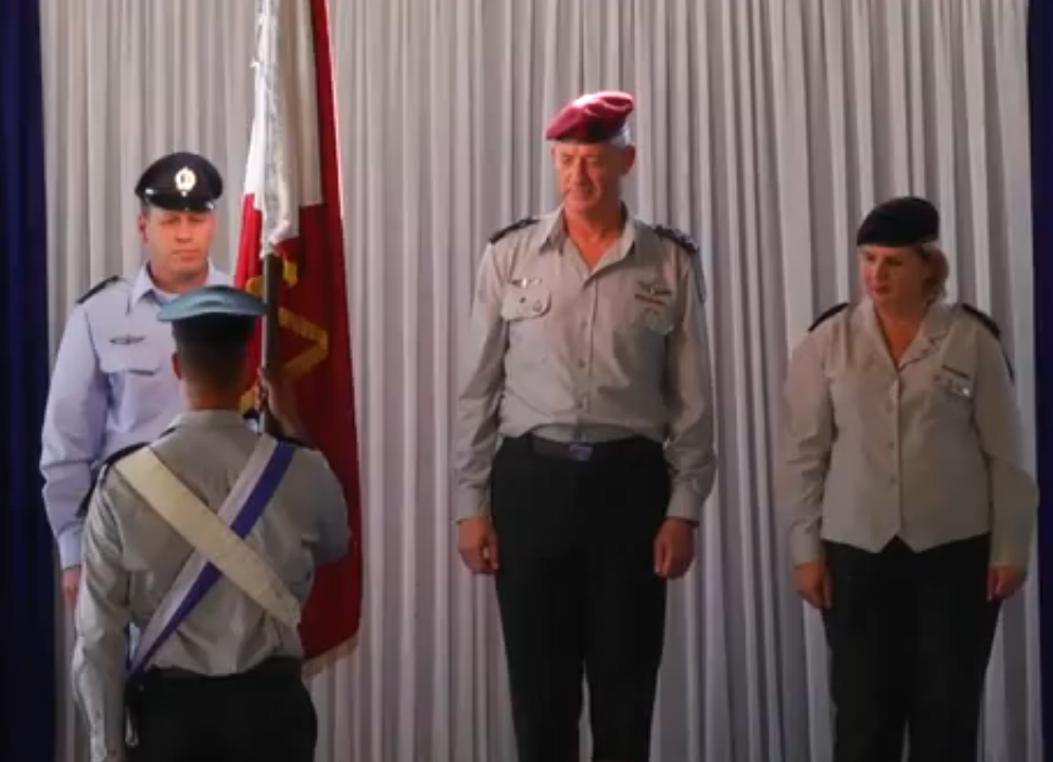 In the pictured changing of the guard ceremony on Tuesday, Air Force General Command chief Brig. Gen. Hagai Topolansky replaced Maj. Gen. Orna Barbivai (right) on Tuesday as head of the Israel Defense Forces' Personnel Directorate. Barbivai was the IDF's first female major-general. Credit: Israel Hayom video screenshot.
