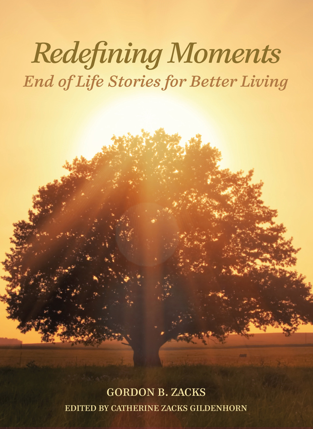 "Click photo to download. Caption: The cover of ""Redefining Moments: End of Life Stories for Better Living,"" by Gordon B. Zacks. Credit: Beaufort Books."