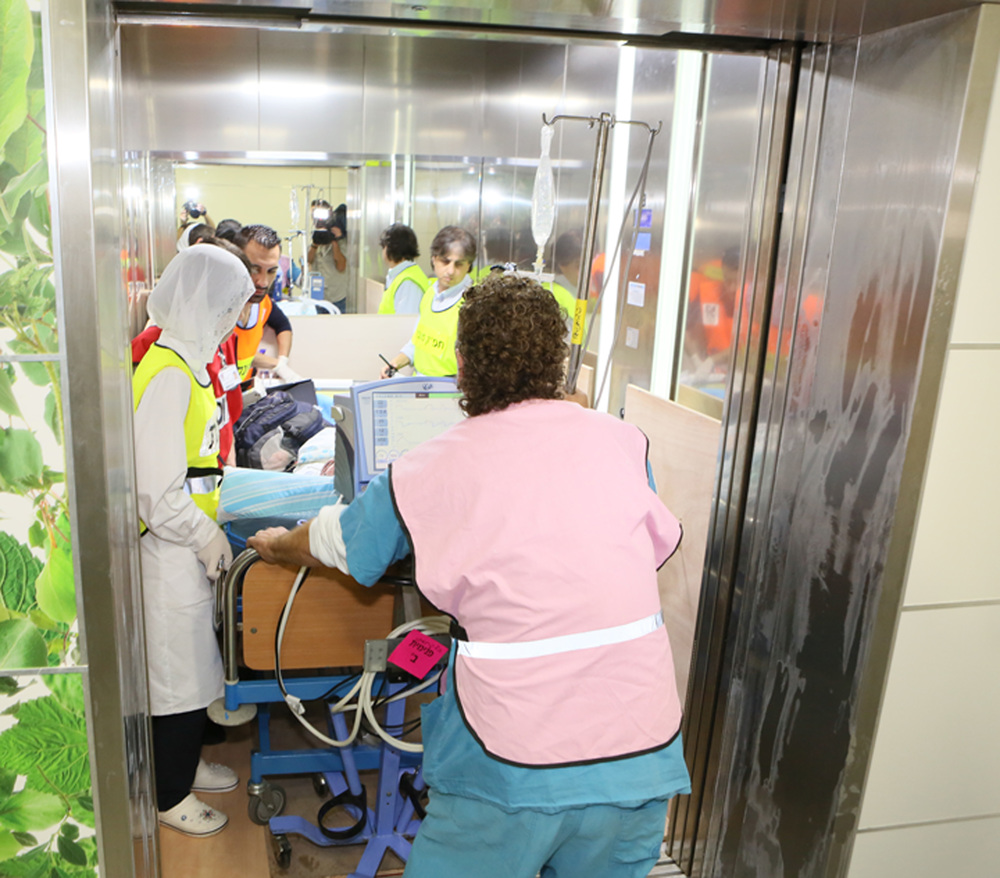 Click photo to download. Caption: Rambam Health Care Campus patients are transported to the facility's fortified underground hospital. Credit: Rambam Health Care Campus.
