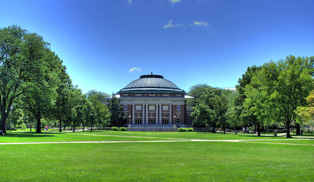 The campus of the University of Illinois at Urbana-Champaign. Credit: Herbert J. Brant via Wikimedia Commons.