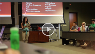 Screenshot of the video showing the Ohio University student senate meeting Sep. 10. Credit: Screenshot from the Athens Post.