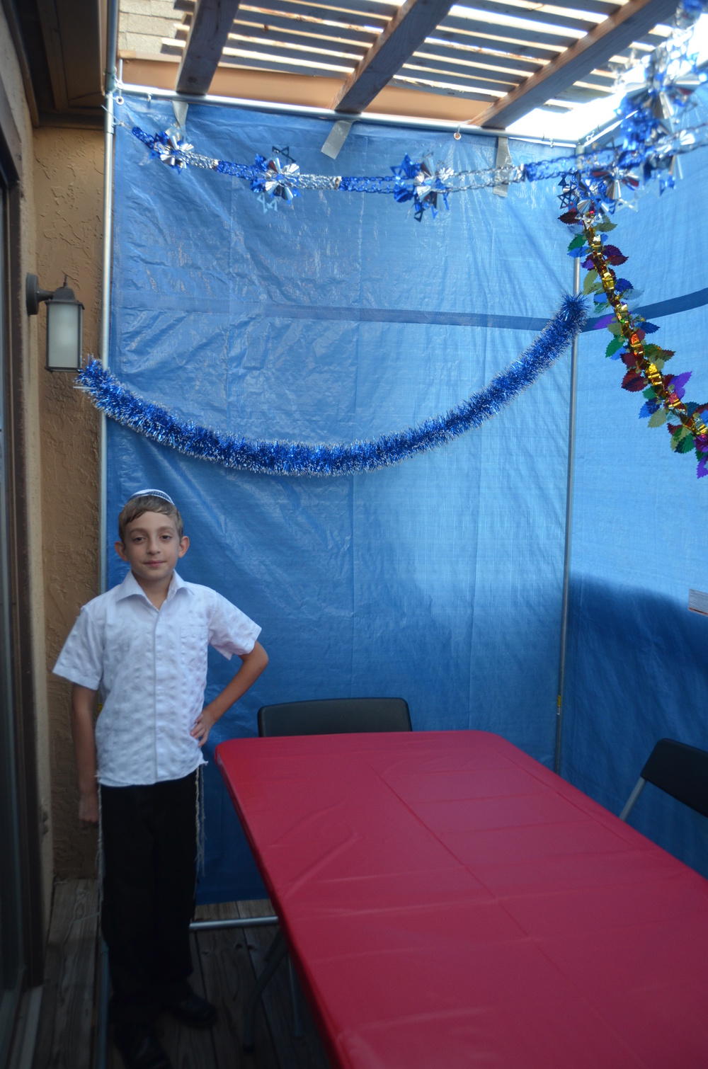Click photo to download. Caption: Shai-El Luger (pictured) and his single mother always wanted a sukkah of their own, but could not afford one. Dr. Jay Robinow changed that last year when he bought and built the Luger household's first sukkah (pictured). Credit: Provided photo.