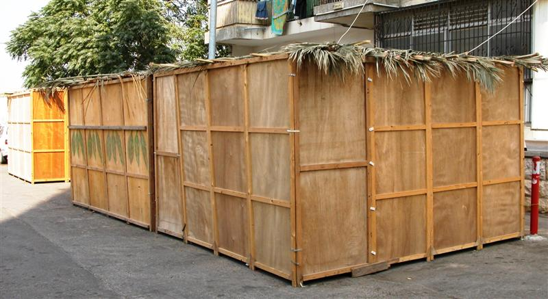 Click photo to download. Caption: Several sukkot with wooden walls. Credit: Effi B. via Wikimedia Commons.