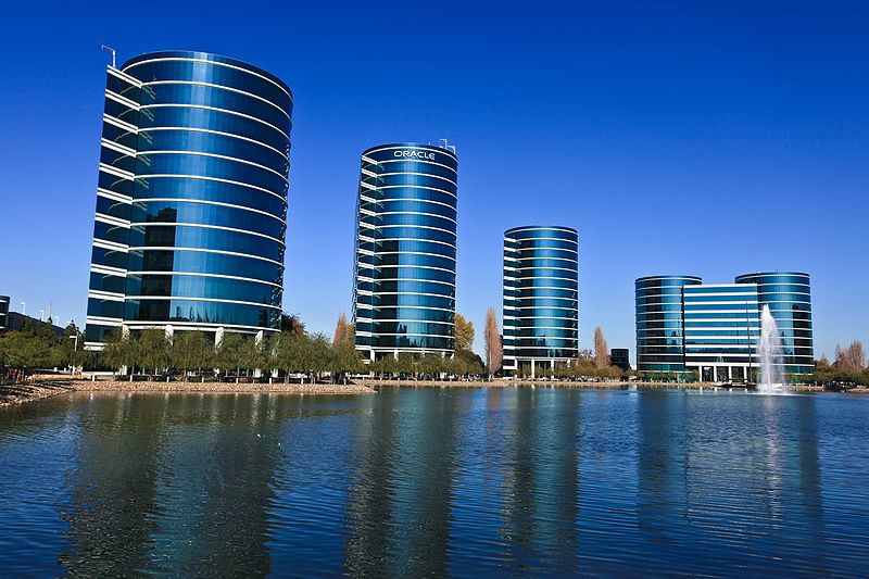 Oracle headquarters in Redwood City, Calif. Credit: Håkan Dahlström via Wikimedia Commons.