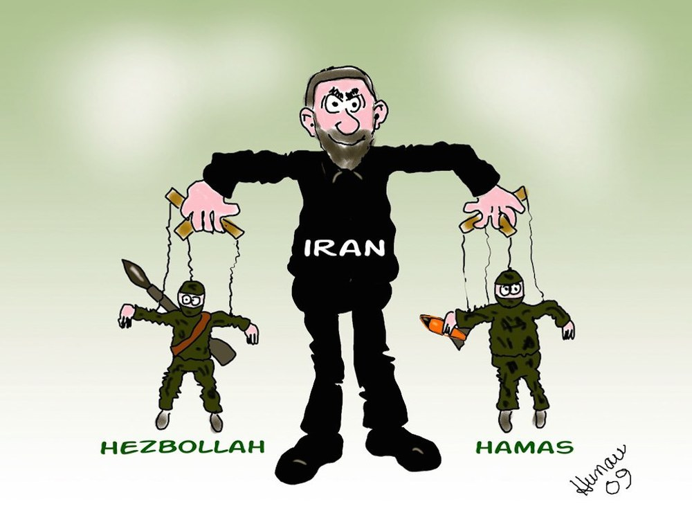 Click photo to download. Caption: A cartoon of Hezbollah, Iran, and Hamas, with Iran—the country funding both terror groups—as puppet master. Credit: Cartoons by Barry via Wikimedia Commons.