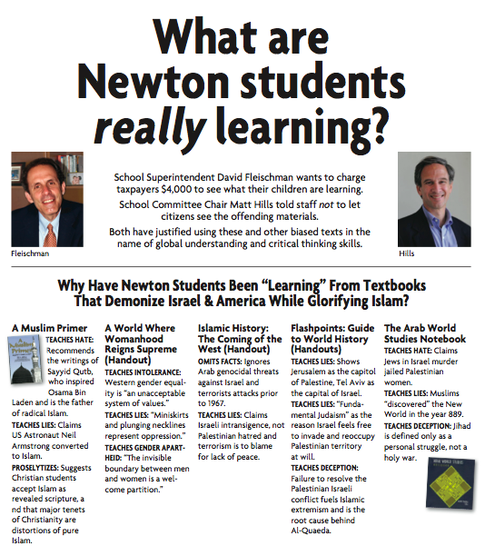 Click photo to download. Caption: An October 2013 advertisement from Americans for Peace and Tolerance calling out Newton, Mass., schools officials over the presence of anti-Israel texts in their schools. Credit: American for Peace and Tolerance.