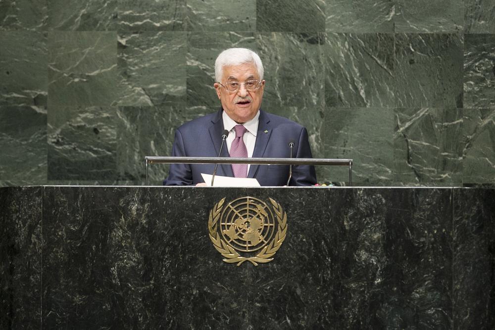 Palestinian Authority President Mahmoud Abbas addresses the U.N. General Assembly on Sept. 26. Credit:UN Photo/Amanda Voisard.