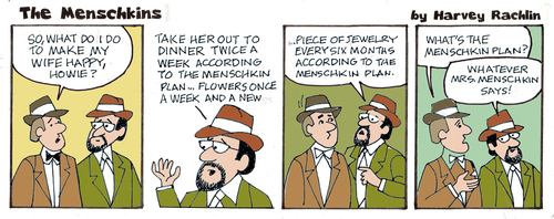 "Click photo to download. Caption: ""The Menschkin Plan,"" one of this past year's Menschkins cartoons. Credit: Harvey Rachlin and Steven Duquette."