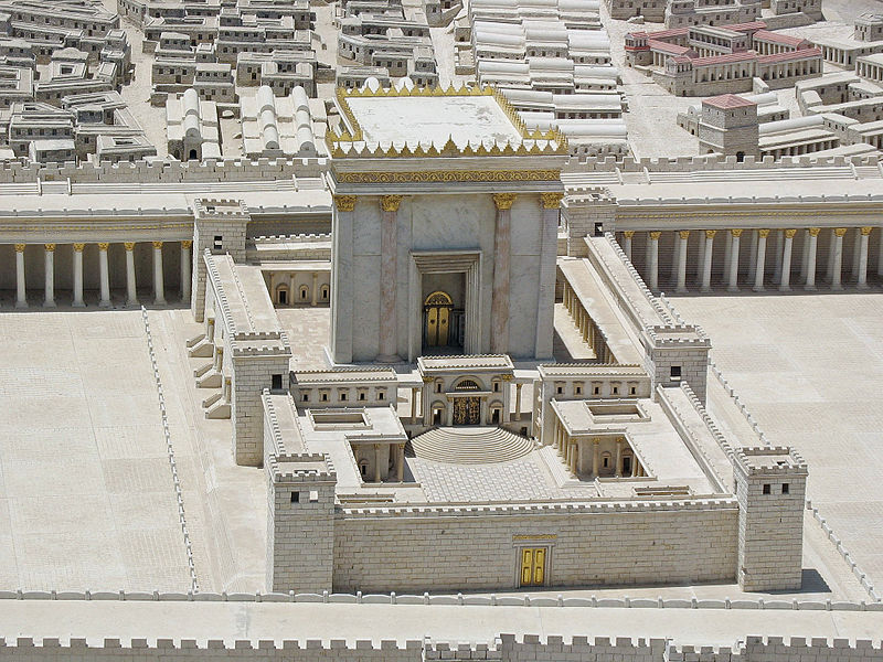 A model of the Second Temple of Jerusalem. Credit: Ariely via Wikimedia Commons.