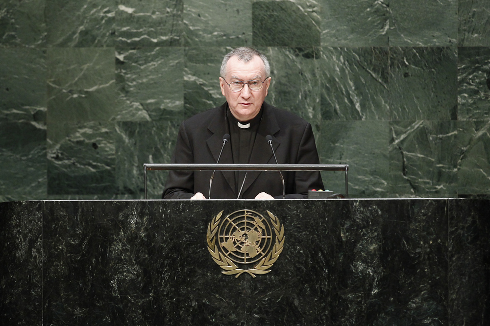 Cardinal Pietro Parolin, secretary of state of the Vatican, addresses the general debate of the 69th session of the United Nations General Assembly on Monday. Credit: UN Photo/Cia Pak.