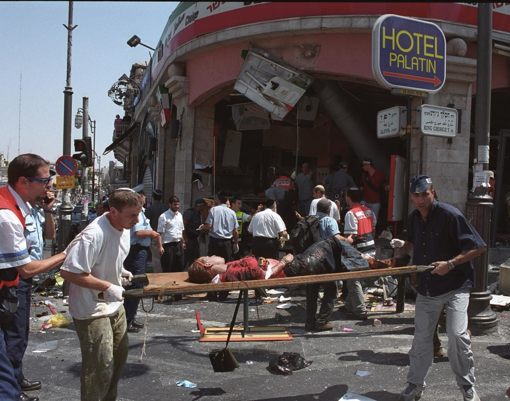 Click photo to download. Caption: The roughly 300 plaintiffs in the Arab Bank case were either injured themselves or have family members who were killed in 24 different Hamas terror attacks during the Second Intifada, including the pictured suicide bombing at the Sbarro pizzeria in Jerusalem on August 9, 2001.