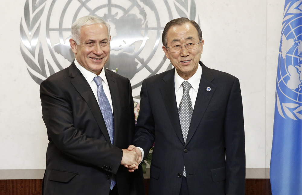 Israeli Prime Minister Benjamin Netanyahu (left) and United Nations Secretary-General Ban Ki-moon meet on Tuesday in New York. Credit: UN Photo/Evan Schneider.