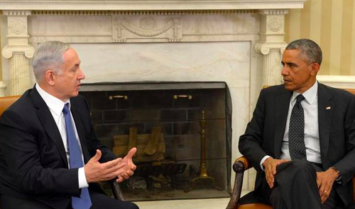 Prime Minister Benjamin Netanyahu and President Barack Obama meet at the White House on Wednesday. Credit: Prime Minister's Office via Twitter.