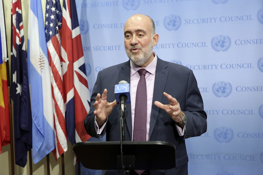"Click photo to download. Caption: Israeli Ambassador to the U.N. Ron Prosor, pictured here speaking to journalists on July 10 following a U.N. Security Council meeting on the Israel-Hamas war, says it is ""about time Jewish employees at the U.N won't be obligated to work on Yom Kippur."" Credit: UN Photo/Evan Schneider."